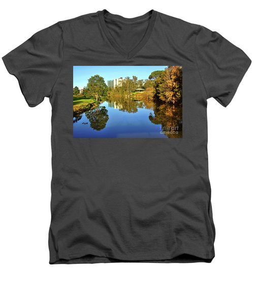 Men's V-Neck T-Shirt featuring the photograph Tranquil River By Kaye Menner by Kaye Menner