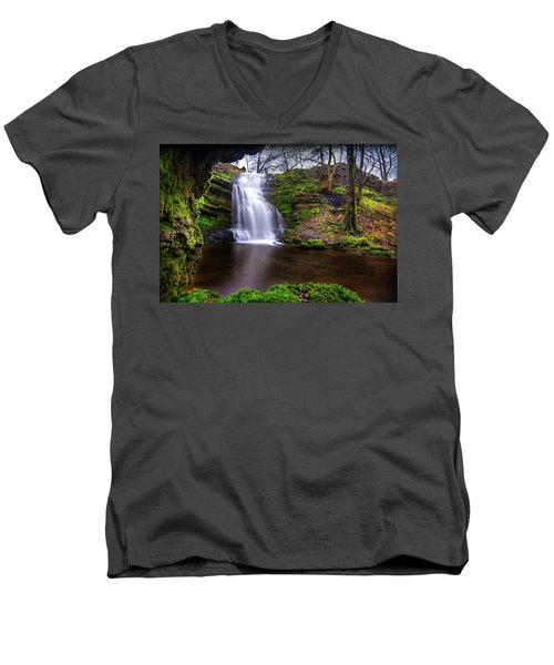 Tranquil Slow Soft Waterfall Men's V-Neck T-Shirt