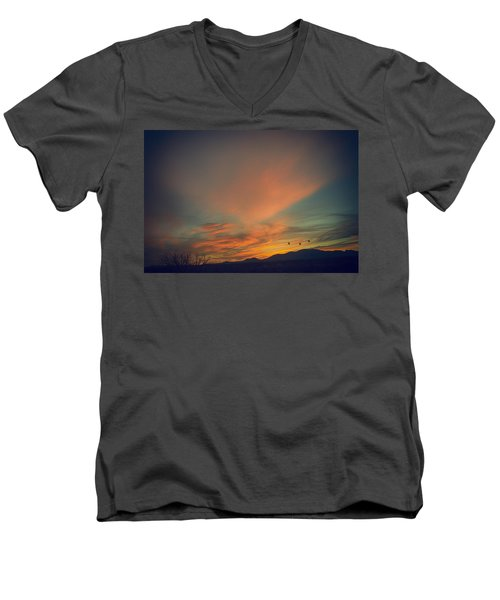 Men's V-Neck T-Shirt featuring the photograph Tranquil Sunset by Barbara Manis