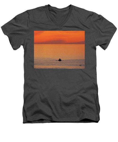 Tranquililty Men's V-Neck T-Shirt by Linda Hollis