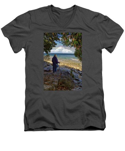 Tranquility Men's V-Neck T-Shirt by Judy Johnson
