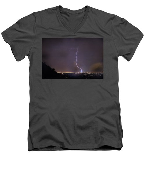 Men's V-Neck T-Shirt featuring the photograph It's A Hit Transformer Lightning Strike by James BO Insogna