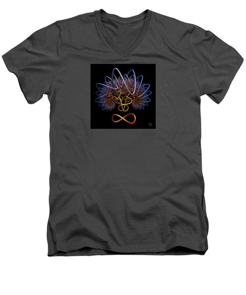 Men's V-Neck T-Shirt featuring the digital art Transinfinity - A Fractal Artifact by Manny Lorenzo