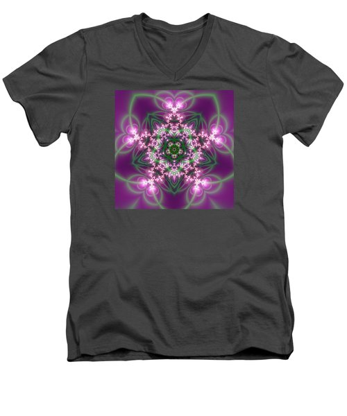 Men's V-Neck T-Shirt featuring the digital art Transition Flower 5 Beats by Robert Thalmeier