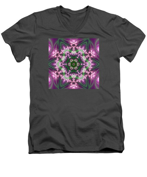 Men's V-Neck T-Shirt featuring the digital art Transition Flower 6 Beats 4 by Robert Thalmeier