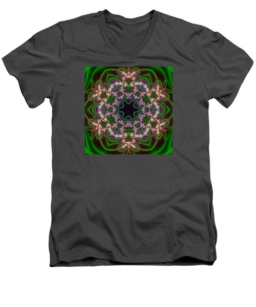 Men's V-Neck T-Shirt featuring the digital art Transition Flower 6 Beats by Robert Thalmeier