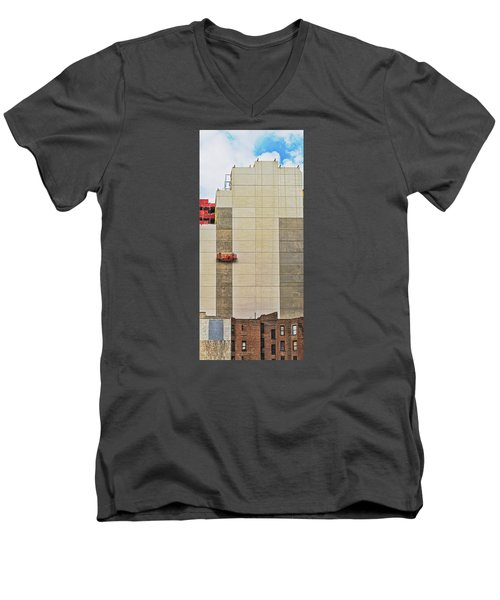 Men's V-Neck T-Shirt featuring the photograph Transition From Old To New In New York by Gary Slawsky
