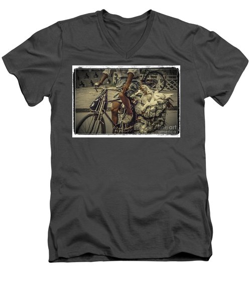 Men's V-Neck T-Shirt featuring the photograph Transport By Bicycle In China by Heiko Koehrer-Wagner