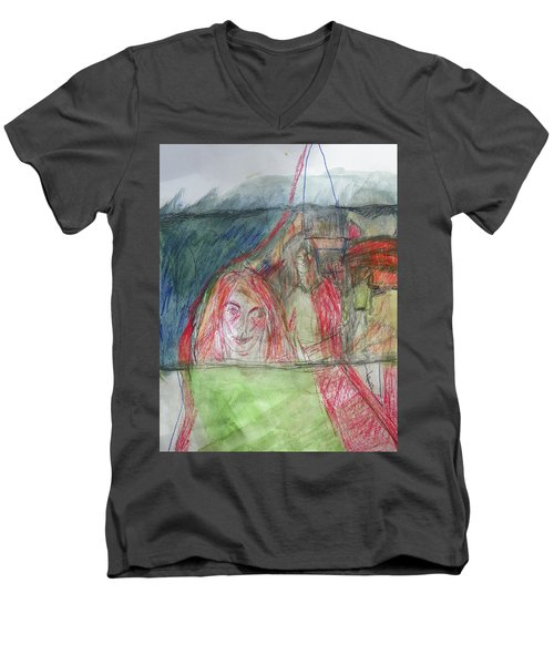 Travelers On The Train Men's V-Neck T-Shirt