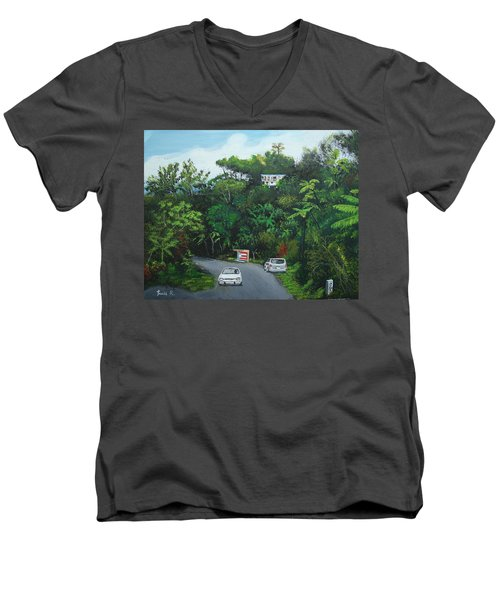 Traveling In Adjuntas Mountains Men's V-Neck T-Shirt by Luis F Rodriguez