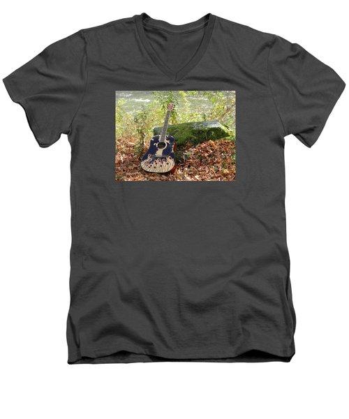 Traveling Musician Men's V-Neck T-Shirt by Krys Whitney