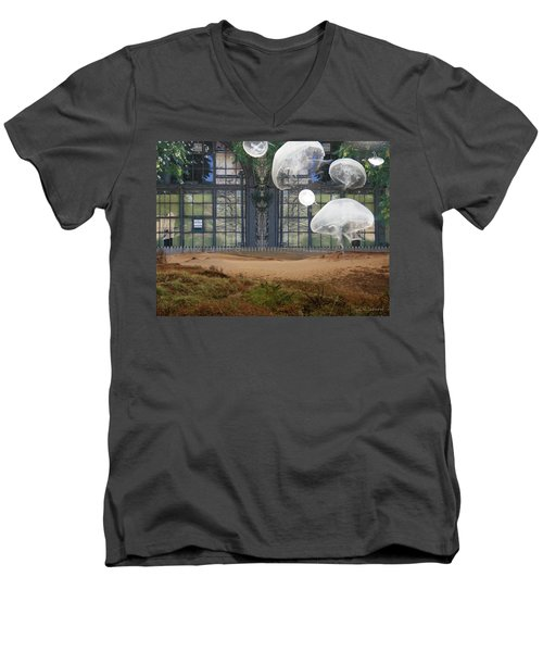 Travels With Jellyfish Men's V-Neck T-Shirt by Joan Ladendorf