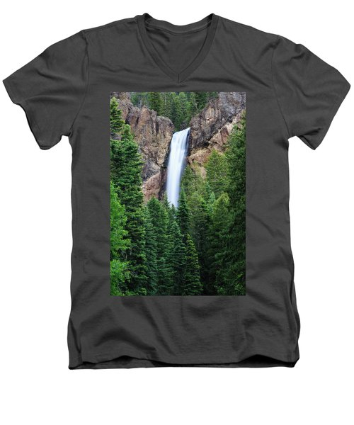 Men's V-Neck T-Shirt featuring the photograph Treasure Falls by David Chandler