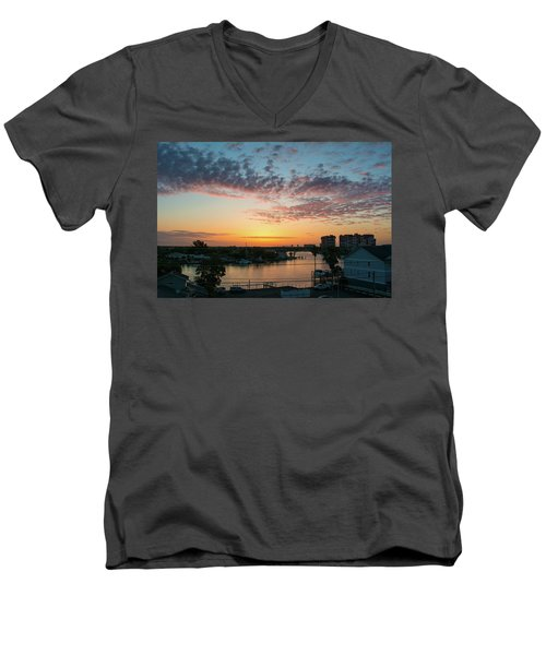 Men's V-Neck T-Shirt featuring the photograph Treasure Island Sunrise by RC Pics