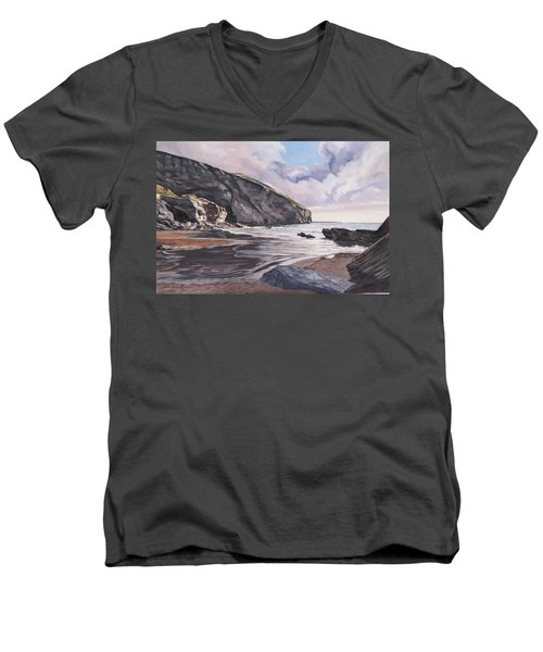 Men's V-Neck T-Shirt featuring the painting Trebarwith Strand by Lawrence Dyer