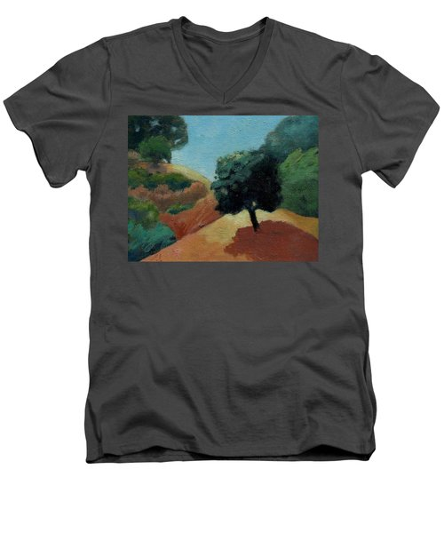 Men's V-Neck T-Shirt featuring the painting Tree Alone by Gary Coleman