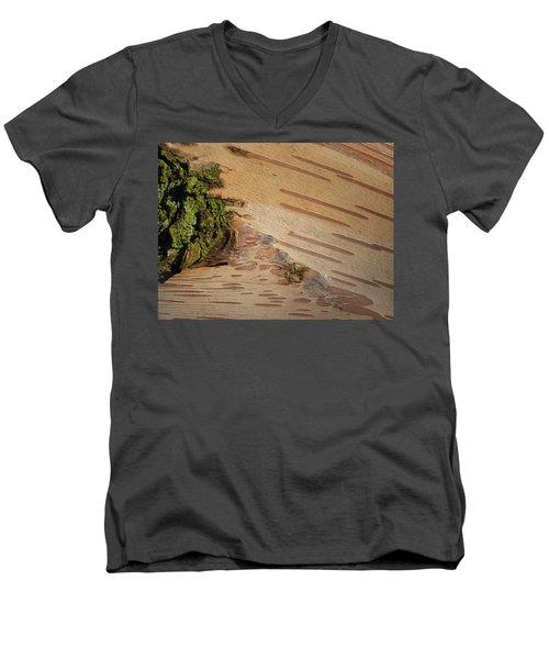 Tree Bark With Lichen Men's V-Neck T-Shirt by Margaret Brooks