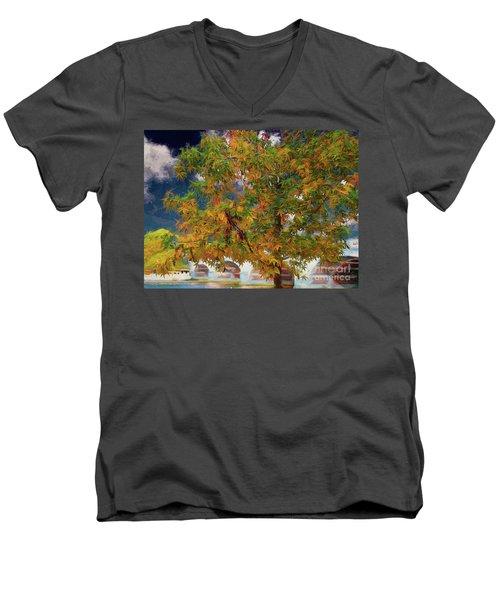 Tree By The Bridge Men's V-Neck T-Shirt