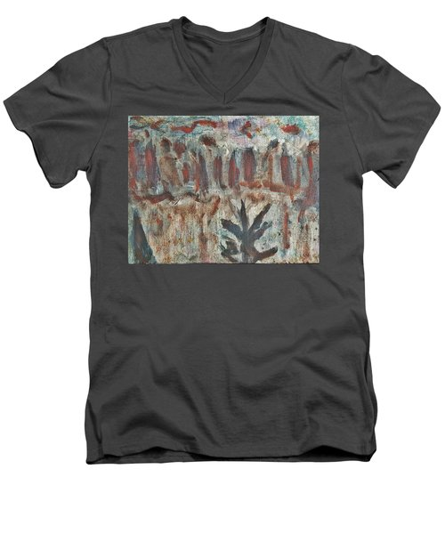 Tree Facing Frozen Lake With Roiling Storm Clouds Rolling In From The Mountain Range Winter With Fal Men's V-Neck T-Shirt by MendyZ