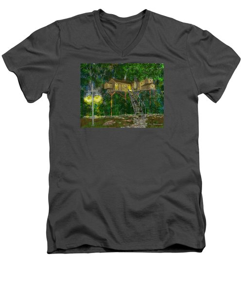 Men's V-Neck T-Shirt featuring the drawing Tree House #10 by Jim Hubbard