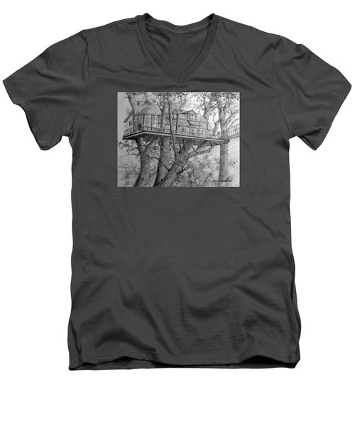 Men's V-Neck T-Shirt featuring the drawing Tree House #4 by Jim Hubbard