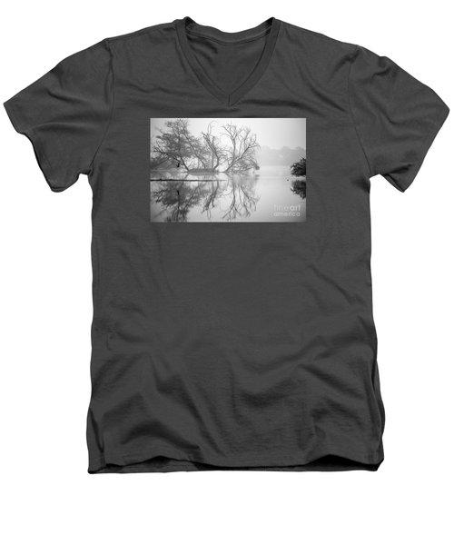 Tree In A Lake Men's V-Neck T-Shirt by Pravine Chester