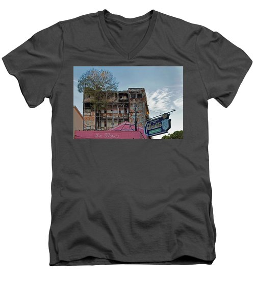 Men's V-Neck T-Shirt featuring the photograph Tree In Building Over La Floridita Havana Cuba by Charles Harden