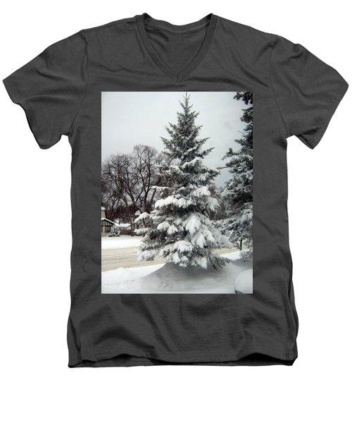 Tree In Snow Men's V-Neck T-Shirt