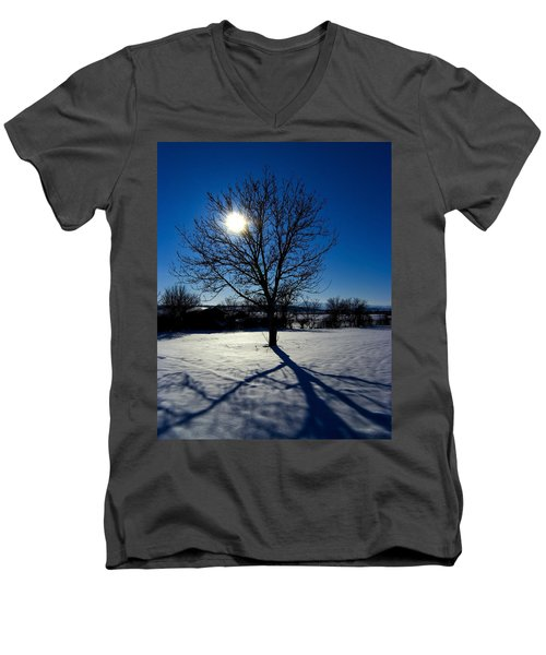 Tree Into Sun On A Winter Snowy Afternoon Men's V-Neck T-Shirt