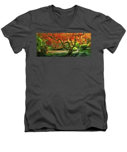 Tree, Japanese Garden Men's V-Neck T-Shirt by Marius Sipa