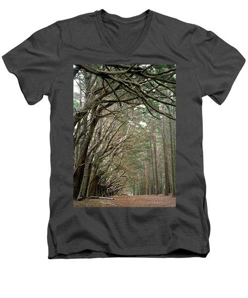 Tree Lane Men's V-Neck T-Shirt by Art Shimamura