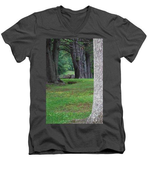 Tree Line Men's V-Neck T-Shirt by Eric Liller