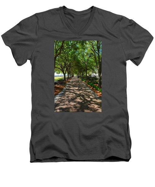 Tree Lined Path Men's V-Neck T-Shirt by Debra Martz