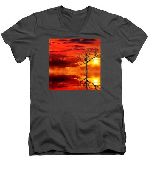 Tree Of Destruction Men's V-Neck T-Shirt by Gabriella Weninger - David