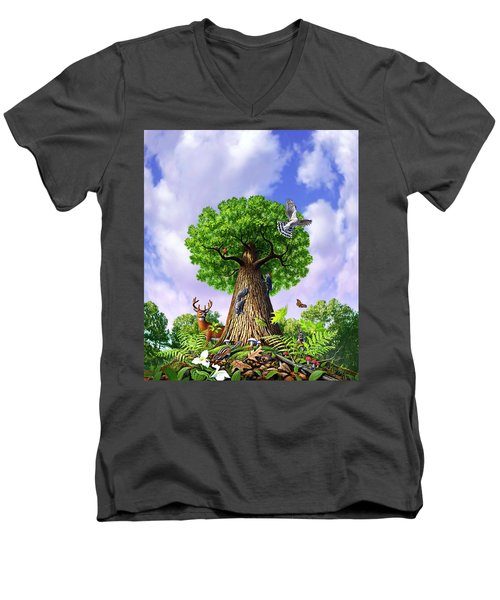 Tree Of Life Men's V-Neck T-Shirt by Jerry LoFaro