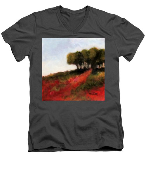 Men's V-Neck T-Shirt featuring the painting Trees On The Hill by Marti Green