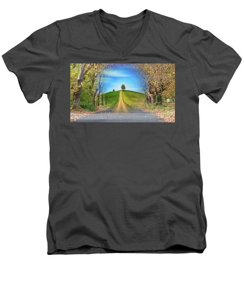 Tree On The Hill Montage Men's V-Neck T-Shirt