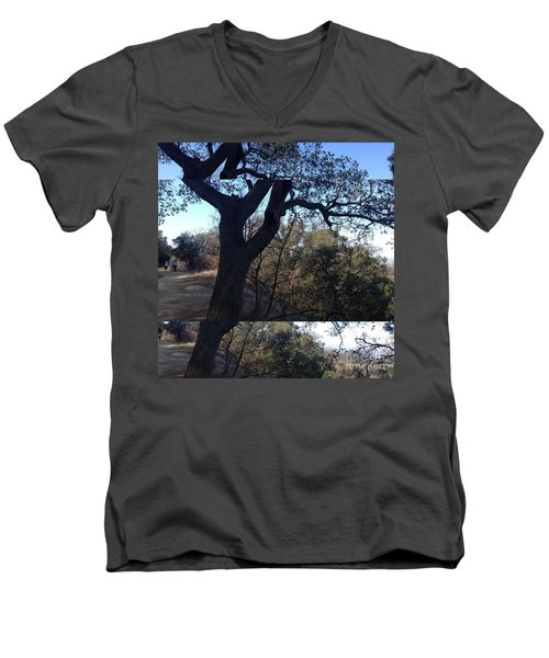 Tree Silhouette Collage Men's V-Neck T-Shirt by Nora Boghossian