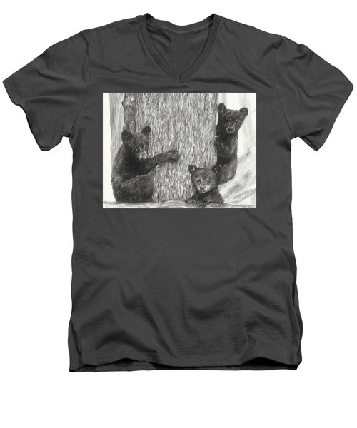 Men's V-Neck T-Shirt featuring the drawing Tree Trio  by Meagan  Visser