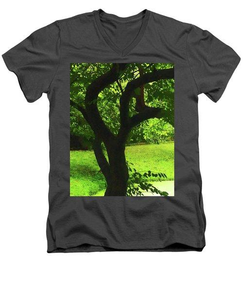 Tree Trunk Green Men's V-Neck T-Shirt