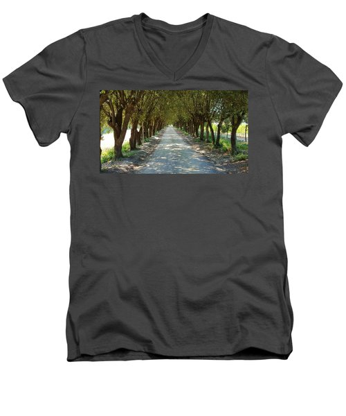 Men's V-Neck T-Shirt featuring the photograph Tree Tunnel by Valentino Visentini
