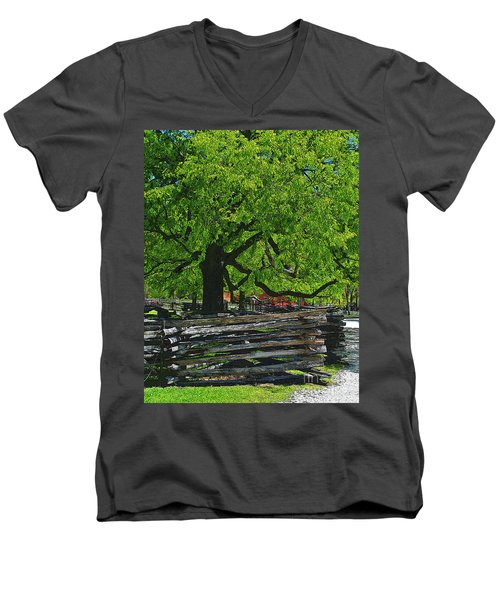 Tree With Colonial Fence Men's V-Neck T-Shirt