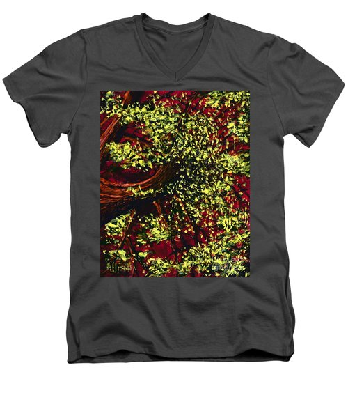 Tree With Red Sky Men's V-Neck T-Shirt