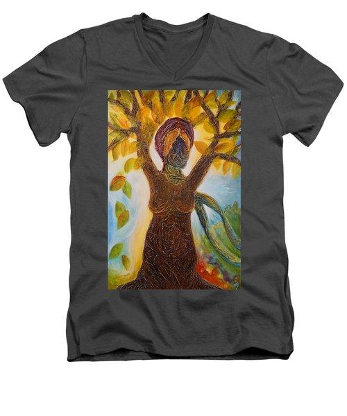Tree Woman Men's V-Neck T-Shirt by Theresa Marie Johnson