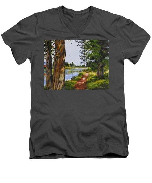 Trees Along The River Men's V-Neck T-Shirt