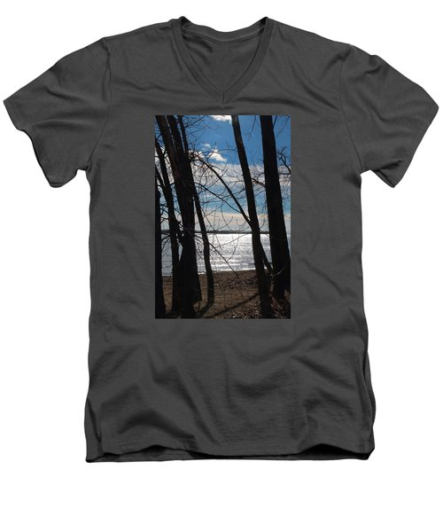 Men's V-Neck T-Shirt featuring the photograph Trees And Lake Reflections by Valentino Visentini