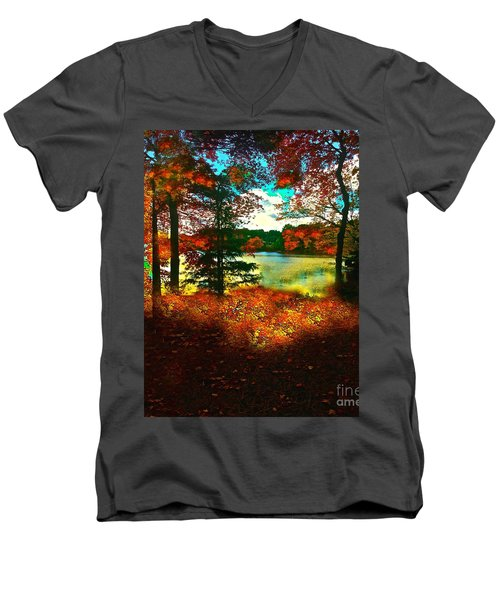 Trees And Shadows In New England Men's V-Neck T-Shirt by Saundra Myles