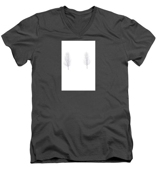 Men's V-Neck T-Shirt featuring the photograph Trees And Snow by Daniel Thompson