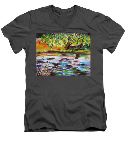 Men's V-Neck T-Shirt featuring the painting Trees Edge The Pond by John Williams
