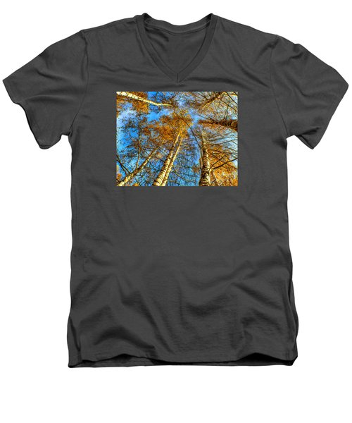 Trees Grow To The Sky Paint Men's V-Neck T-Shirt by Odon Czintos